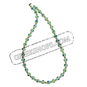 Lime Green Evil Eye Necklace with silver beads KI_6lgreen