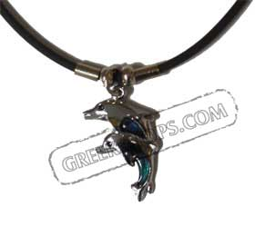 Double Dolphin Faux Opal Indian Rubber Necklace KO_22