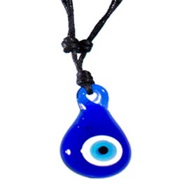 Teardrop Glass Evil Eye Adjustable Necklace with Leather 103318