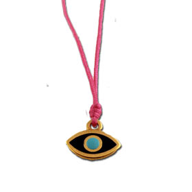 Greek Evil Eye Pink Handbraided Macrame Adjustable Necklace 103514