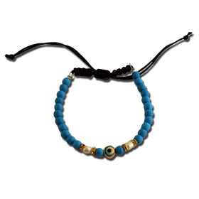 Beaded Faux Turqoise Evil Eye Bracelet, Macrame Adjustable