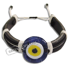 Mati Evil Eye Leather Bracelet - Dark Blue