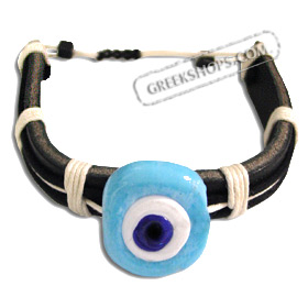 Mati Evil Eye Leather Bracelet - Light Blue
