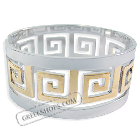 Stainless Steel Cuff Bracelet - Greek Key Motif Silver and Gold Color (31mm)