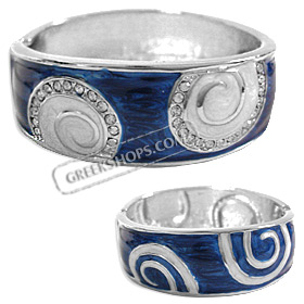 Stainless Steel Cuff Bracelet - Swirl Motif with Rhinestones - Blue (25mm)
