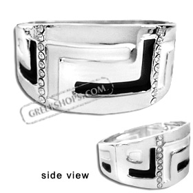 Stainless Steel Cuff Bracelet - Greek Key Motif with Rhinestones - Black and White (33mm)