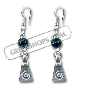 Greek Lava Rock and Swirl Motif Earrings Style SK29