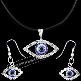 Mati Evil Eye Necklace and Earring Set with Rhinestones