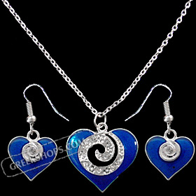 Blue Heart Minoan Swirl Motif Necklace and Earring Set with Rhinestones