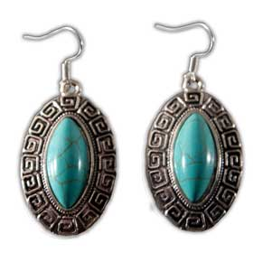 Teardrop shaped Earrings w/ Turquoise Stone and Greek Key Motif (22mm)