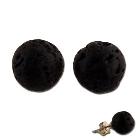 The Santorini Collection - Black Lava Rock Earrings (9mm)