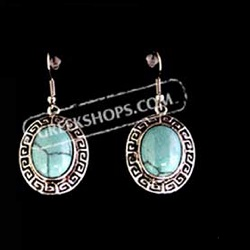 Hook Earrings w/ Turquoise Stone and Greek Key Motif (18mm)