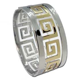 Gold Tone Stainless Steel Cuff Bracelet - Large Greek Key Motif Style BME15X