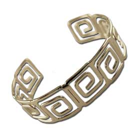 Stainless Steel Cuff Bracelet - Large Greek Key Motif Style BSR145A