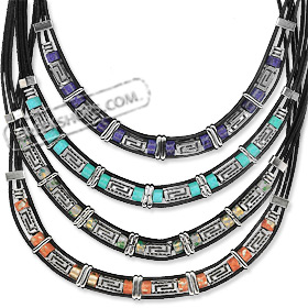 Geometric Collection - Necklace with Greek Key Motif KE390 (4 Color Options)