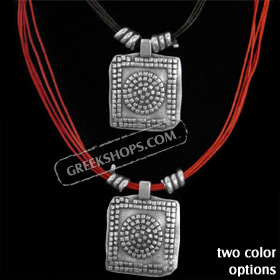 Byzantium Collection - Necklace with Checkered Circle Design KY265 (2 Color Options)