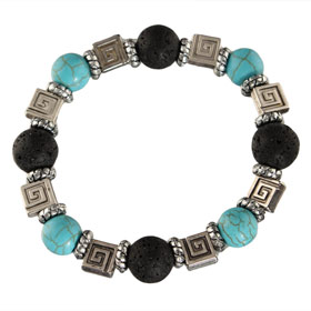 The Santorini Collection - Black Lava Rock w/ Teal Bead and Greek Key (12mm)
