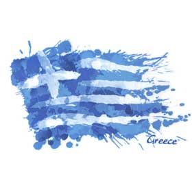 Adult Crew neck tshirt Greek Flag Style 3015