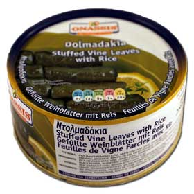 Onassis Stuffed Vine Leaves with Rice, Dolmadakia, 280g can