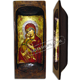 Any Orthodox Saint - CUSTOM - Hand Painted on Antique Wooden Bread Bowl