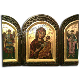 Three-Fold Hand painted icon of the Virgin Mary with Archangels Michael and Gabriel - 48 x 35 cm