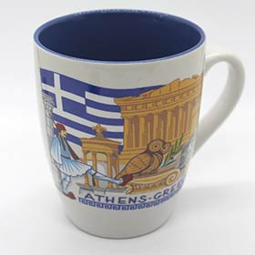 Athens Landscapes w/ Greek Flag Coffee Mug 11oz