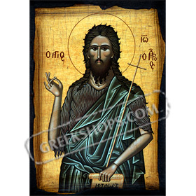 Agios Ioannis ( Saint John the Baptist ) Paper Reproduction Icon 20x14cm