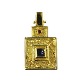 The Theodora Collection - 24k Gold Plated Sterling Silver Square Byzantine Pendant 18mm