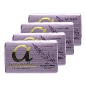 Papoutsanis Greek Aromatic Soaps - Lavender, 4 x 125gr bars w/ Free US Shipping