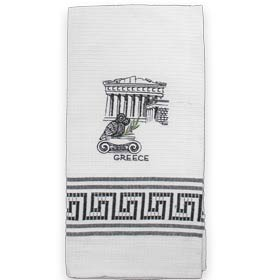 Decorative Embroidered Kitchen Towel feat. Parthenon and Owl  50x60cm