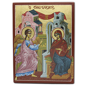 Annunciation of the Virgin Mary, Byzantine Icon Reproduction, 19x25cm