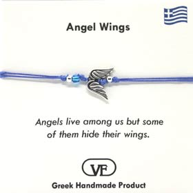 "The Filia Bracelet Collection:: Angel Wings ""Stay Safe"" adjustable Macrame Blue String Bracelet"