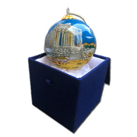 Greek Christmas Tree Glass Ornament Parthenon - Athens Greece