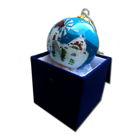 Greek Christmas Tree Glass Ornament Santorini - Greece