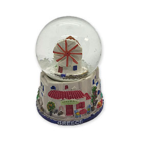 Greece - Windmill in Santorini Snow Globe 10cm