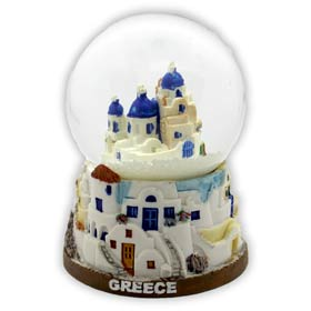 Greece - Greek Church in Santorini Snow Globe 10cm