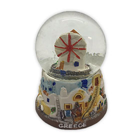 Greece - Windmill in Mykonos Snow Globe 10cm