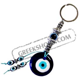 Gook Luck Charm Keychain w/ Blue Glass Evil Eye GO84