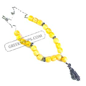 Glass Worry Beads KN41A Yellow