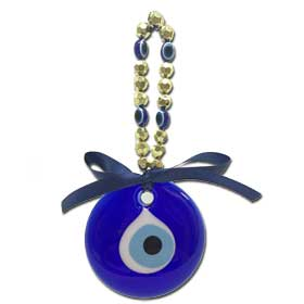 Decorative Greek Evil Eye with gold charms 8.5cm