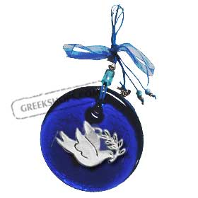 Blue Glass Good Luck Charm Round Ornament w/ Peace Dove Decoration (12cm)
