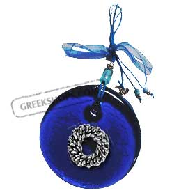 Blue Glass Good Luck Charm Round Ornament w/ Olive Leaf Wreath Decoration (12cm)