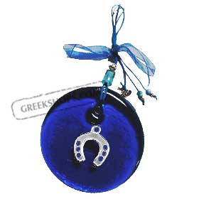 Blue Glass Good Luck Charm Round Ornament w/ Horseshoe Decoration (12cm)