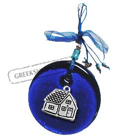 Blue Glass Good Luck Charm Round Ornament w/ Village House Decoration (12cm)