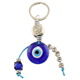 Greek Custom Name Gook Luck Keychain - Large Mati Evil Eye MP040
