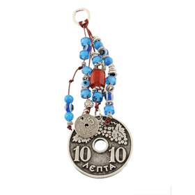 Deka Lepta Coin and Evil Eye Good Luck Wall Ornament
