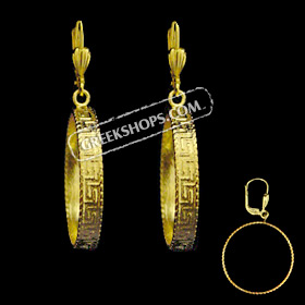 The Prestige Collection - Gold Overlay Greek Key Earrings (clip-on OR post) 25mm