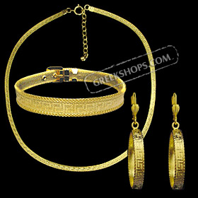 The Prestige Collection - Gold Overlay Greek Key Single Necklace, Bracelet & Earrings Set