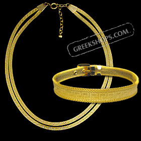 The Prestige Collection - Gold Overlay Greek Key Double Strand Necklace and Bracelet Set