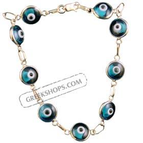 Greekshops greek products greek gold jewelry gold evil eye greek gold jewelry 66 gold evil eye bracelet 18k with turquoise stones aloadofball Choice Image
